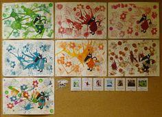 """idées arts visuels autour du """"loup qui voulait changer de couleur"""" : l'élève choisit sa couleur et travaille autour"""