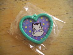 Vintage Blue Green Heart Kitty Eraser. 80s Shimizu by JirjiMirji, €5.30