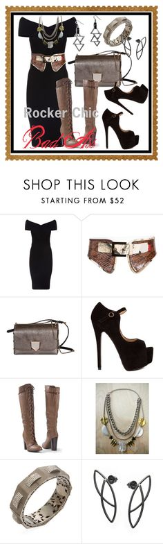 """Bad Ass --- Rocker Chic"" by kareng-357 ❤ liked on Polyvore featuring Maje, Oscar de la Renta, Jimmy Choo, Venus, Love + Leather and Arthur Marder Fine Jewelry"
