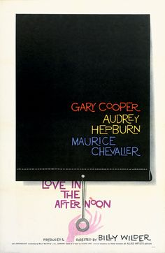Saul Bass film poster for Love in the Afternoon (1957)