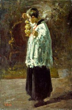 ~ Vincenzo Irolli ~ Italian artist, 1860-1949: Altar Boy