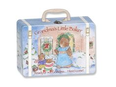 Grandma's Little Baker Christmas Suitcase by Child to Cherish. A wonderful Christmas Gift for Grandma's Little Baker! Children love to bake with Grandma and this adorable suitcase is filled with cooking supplies to get started right now! Includes: High Quality Child to Cherish Apron, Solid Wood Spoon, Wooden Rolling Pin, 3 Cookie Cutters and 5 Recipes! The Food Grade tin suitcase makes it great for storing treats to bring home too!. Price: $18.00