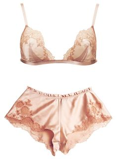 blush silk satin embroidered delicate lingerie
