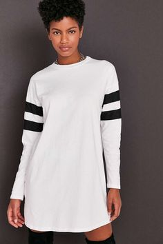Truly Madly Deeply Oversized Varsity Stripe T-Shirt Dress   Would be better with the colors reversed