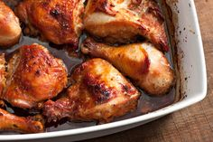 Asian-Marinated Baked Chicken. Just use gluten free soy sauce!  Marinate then bake, crisp skin in broiler.