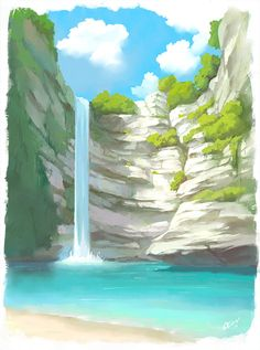 Waterfall concept art by Olivi Art Landscape Concept, Fantasy Landscape, Landscape Art, Fantasy Art, Landscape Background, Art Background, Background Designs, Environment Concept Art, Environment Design