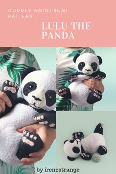 """Lulu is a panda cub, Little ones will love how soft and squishy her body is! So adorable! #amigurumi #pattern #panda #crochet #handmande #adorable """"kids #plushtoy #ad"""
