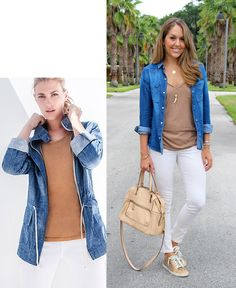 Today's Everyday Fashion: open chambray shirt, beige tee, white jeans