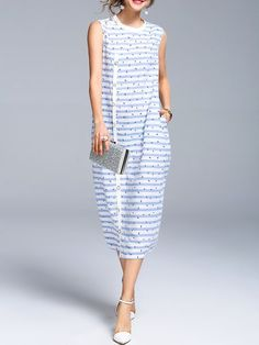 Light Blue Stripes Printed Crew Neck Sleeveless Midi Dress