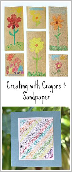 Great sensory art activity for kids! (Drawing on Sandpaper with Crayons  Melted Crayon Art Sun Catchers! ~ Buggy and Buddy)
