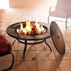 a practical and attractive fire pit that features a convenient spark screen. the powder-coated steel construction means it will be a home staple for many years to come.