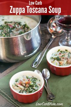 An easy to make low carb Zuppa Toscana soup that is chock full of sausage and healthy vegetables. It's a favorite Italian cream soup. Keto LCHF Atkins THM Recipe