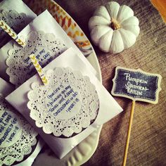 Women's Church Retreat Favors/Treat with pumpkin oatmeal raisin cookie and scripture doily with clothespin magnet.