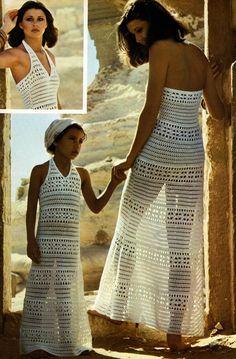 Stunning Vintage Crochet Dress Pattern  1970 by PamoolahVintage