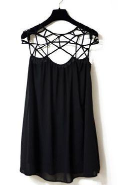 Sheinside Women's Black Girl Cut Out Shift Chiffon Mini Dress