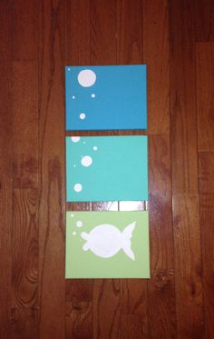 Fish Bubbles Painting Blue and Green by ClarksonStreetCrafts, $40.00