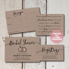 Bridal Shower Invitation Printable Suite 4 pieces, Rustic Bridal Shower Invitation, Bridal Shower Invitation Inserts, Recipe Cards, Download by ShadesOfGrace1 on Etsy
