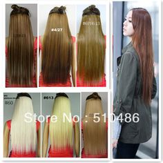 """New Long 24"""" Ladies' Clip in On Hair Extensions Straight Synthetic  Hairpiece 20 Colors Available 1Pcs/Lot $7.21"""