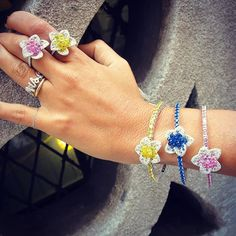 A colorful start to the week with these sapphire briolette bracelets and rings #cellinidesigns #cellinijewelers #sapphireparty briolette jewelry @ Cellini Jewelers NYC. Sapphires. Yellow and blue and pink sapphire bangles