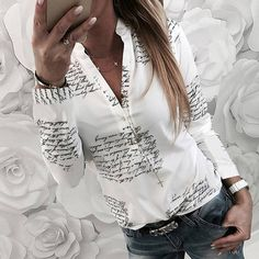 Women Plain Vogue Letters White Shirts Blouse Female Casual Long Sleeve V neck Button Fashion Blouses Shirt Tops Femme, XL Casual Skirt Outfits, White Shirts, Blouse Styles, Shirt Blouses, Blouses For Women, Jeans, Shirt Style, Casual Shirts, Long Sleeve Shirts