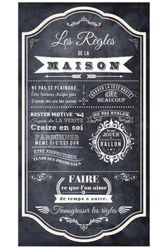 Vente STICKERS / 24345 / Lettrage / Règles de vie / Sticker Les règles de la maison Noir et blanc