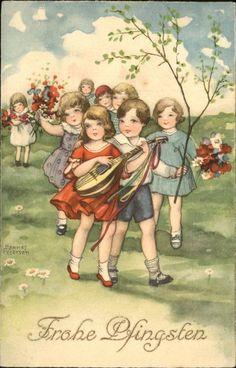 Petersen Hannes Pfingsten Kinder Mandoline Blumen Kat. Kuenstlerkarte 0