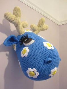Crochet Wool Mounted Stuffed Trophy Head by Cottontailandwhisker
