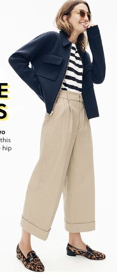 cc834dc0d5 JCREW: COLLARED ZIP-FRONT SWEATER-JACKET J.CREW ESSENTIAL T-SHIRT IN  STRIPES WIDE-LEG CROPPED PANT IN STRETCH TWILL January 2019