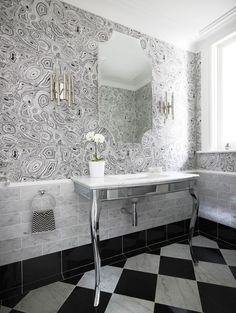 """Malachite"" wallpaper in White and black by Fornasetti for Cole & Son"