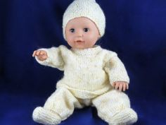 Spring Baby Outfit for Doll Knitted Doll Patterns, Animal Knitting Patterns, Baby Cardigan Knitting Pattern, Doll Sewing Patterns, Knitted Dolls, Doll Clothes Patterns, Baby Patterns, Knitted Baby, Knitting Dolls Clothes