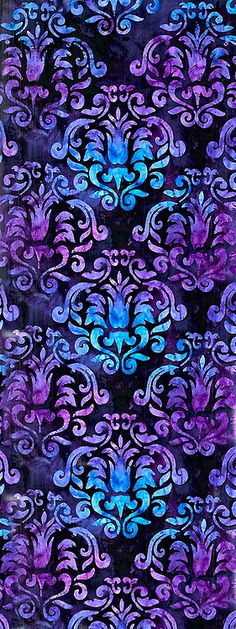 Damask Pattern ~ Aqua and Purple