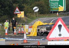 Shoreham, UK. 22nd August, 2015. Scene on A27 after Hawker Hunter jet plane crash. © jason kay/Alamy Live News