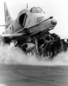 """pra-vda: """"A-4F Skyhawk attack aircraft ready to launch from a steam catapult aboard USS Intrepid, Gulf of Tonkin, Sep 1968. """""""