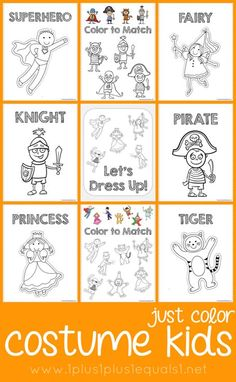 Free Costume Kids Coloring ~ Cute Dress Up Coloring Pages {fairy, princess, pirate, clown, superhero, magician, princess, knight, tiger, cat}