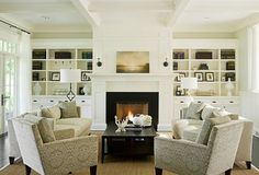 built ins; fireplace/mantle