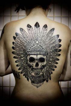 Skull with headdress - full upper back.  Love this