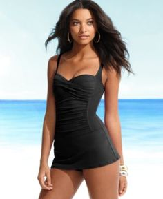 La Blanca Swimwear, One Piece Ruched Swimdress - Womens Swim - Macy's