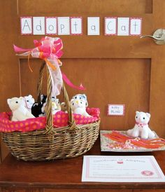 Cute Kitty Cat Party {Girl's Birthday} // Hostess with the Mostess® Adopt-a-cat party favors Cat Themed Parties, Puppy Birthday Parties, Puppy Party, Cat Birthday, Birthday Party Themes, Birthday Ideas, Girl Parties, Birthday Favors, Kitty Party