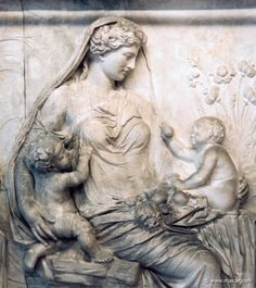 Gaia (Greek Mythology) -  Gaia is the Earth. She is the offspring of Chaos or comes into being after it. [Roman relief, marble   c.13-8 BC