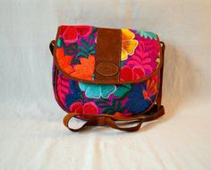 Guatemala  Large Embroidered Purse with Flap  Purple by PIDcrafts