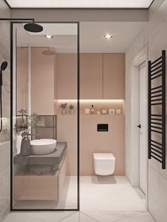 + ideas for beautiful bathroom designs for small spaces blush and white tiled walls, bathroom shower ideas, floating wooden shelf and sink Small Bathroom Layout, Modern Bathroom Design, Bathroom Interior Design, Bathroom Designs, Interior Decorating, Decorating Ideas, Decor Ideas, Minimalist Small Bathrooms, Bathroom Inspiration