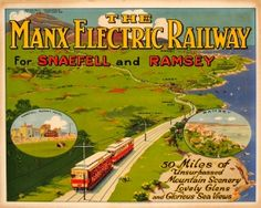 The Manx Electric Railway 1920s - original vintage poster listed on AntikBar.co.uk