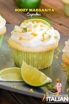 Boozy Margarita Cupcakes are loaded with lime and tequila, the moist and tender cake will draw you in with incredible ribbons of lime zest through out.  The icing on the cupcake?  A true Margarita frosting! - See more at: http://www.theslowroasteditalian.
