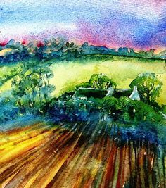 The Sunset  Field     Original Watercolour painting  by ARTbyTRUDI, $40.00