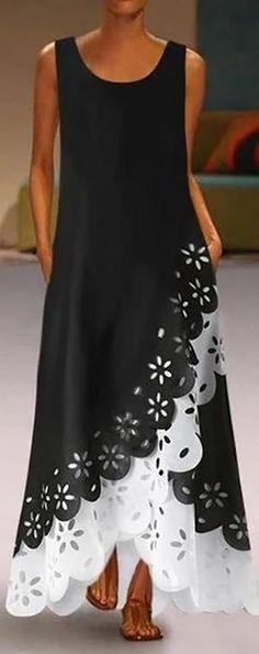 Casual Round Neck Irregular Sleeveless Hollow Out Splicing Dress – Dressisi Women's A Line Dresses, Necklines For Dresses, Types Of Dresses, Casual Dresses, Fashion Dresses, Summer Dresses, Women's Fashion, Fashion Online, Maxi Dresses