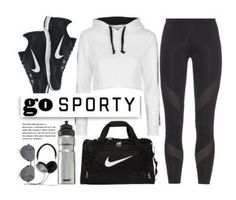 """""""Go Sport"""" by bgood5612 ❤ liked on Polyvore featuring Topshop, adidas, NIKE, Linda Farrow, SIGG, Frends, white, black, sportswear and sportystyle"""
