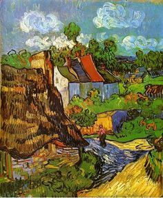 Van Gogh just never gets old. Houses in Auvers 1890 Vincent van Gogh Rembrandt, Vincent Van Gogh, Art Van, Van Gogh Arte, Artist Van Gogh, Van Gogh Paintings, Pierre Auguste Renoir, Dutch Painters, Post Impressionism