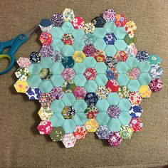 I had big sewing plans this weekend then Friday night I got slammed with the stomach flu 😕 lots of couch time meant progress on my Hexagon Quilt Pattern, Hexagon Patchwork, Quilt Block Patterns, Patchwork Ideas, Foundation Paper Piecing, English Paper Piecing, Hand Quilting, Fabric Crafts, Sewing Projects