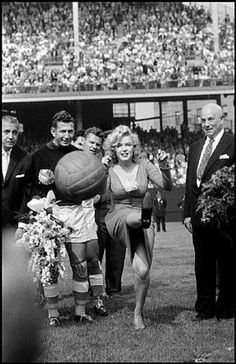 New York City. US actress Marilyn MONROE opening the USA-Israel Football International at Ebbets Field, home of the Brooklyn Dodgers. by Bob Henriques