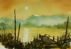 Tito Fornasiero (©2013 titofornasiero.com) Acquerello su carta. Watercolor on paper. I colori e l'atmosfera di un tramonto autunnale.